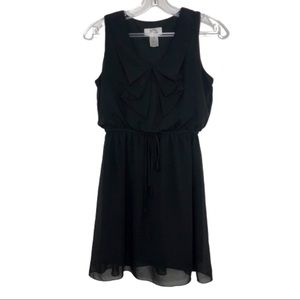 SWEET STORM Black Dress with Bow on Front